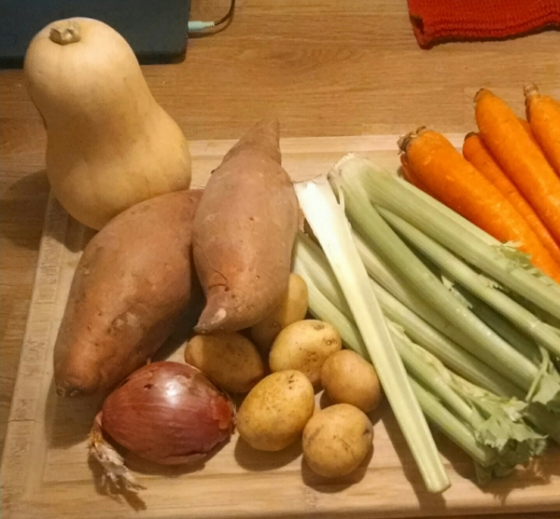 The inspiration: a butternut squash, some giant sweet potatoes, and shallots. The potatoes and celery got used for another soup.
