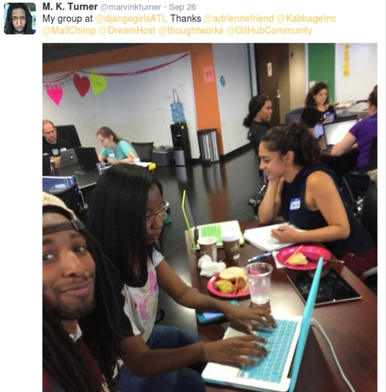 A picture of participants from the Django Girls Atlanta workshop.
