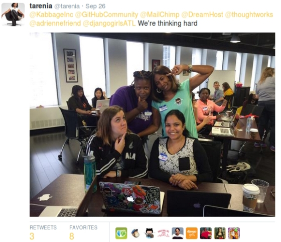 A picture of students from the Django Girls workshop.