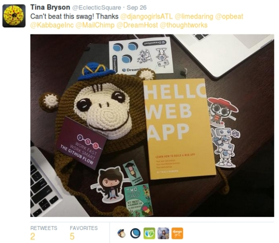 A picture of swag from the Django Girls Atlanta workshop.