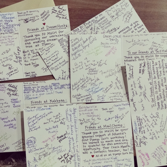 A picture of thank you notes.