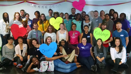 A picture of Django Girls Atlanta attendees and coaches.