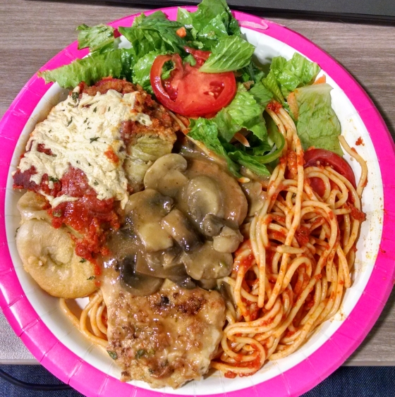 A picture of a lunch plate: Italian food.