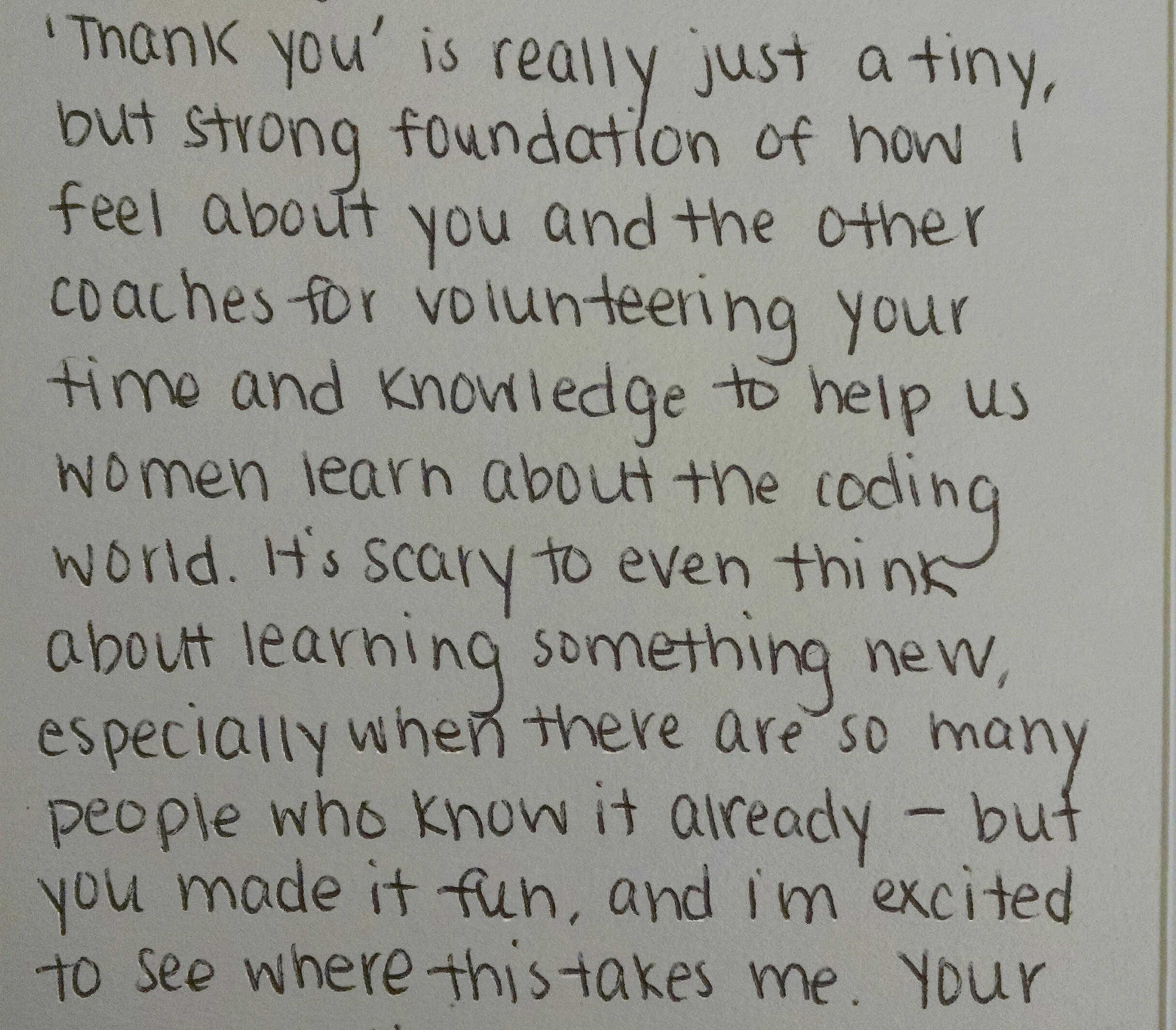 Django girls atlanta coding with knives an image of a heart felt thank you note from a student to her coach expocarfo