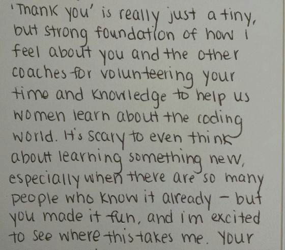 An image of a heart-felt thank you note from a student to her coach.