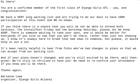 An email that was sent to Django Girls attendees about the importance of RSVPing.